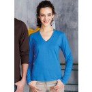 Kariban Ladies Long Sleeve V-neck T-shirt
