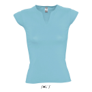 MINT - WOMEN'S CURVED V-NECK T-SHIRT WITH CAP SLEEVES